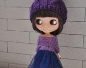 Babydoll Pom-Pom Hat for Blythe Doll-Purple