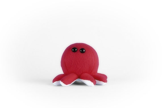 Red Octopus Plush Toy - Stuffed Animal - Sea Creature - Handmade