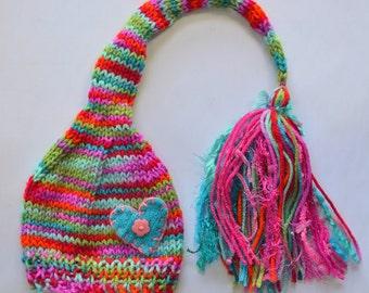 Newborn 3 6 month Girl Hat BaBY PHoTO PRoP Knit SWeET HeART SToCKiNG Cap Fat Tassel BuTToN BeANiE Hot Pink Aqua Purple Green PiXIE Toque