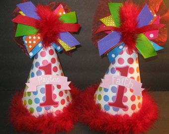 Personalized Twins Rainbow Polka Dot First Birthday Party Hats