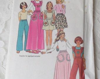 Simplicity Pattern 7279 Girls' Skirt in Two Lengths Pants & Detachable Bib Girls Size 12-14 Vintage 1975