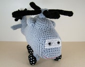 Sh-60 Seahawk helicopter ,  Crocheted Amigurumi Military Seahawk Helicopter , stuffed helicopter toy  MADE TO ORDER