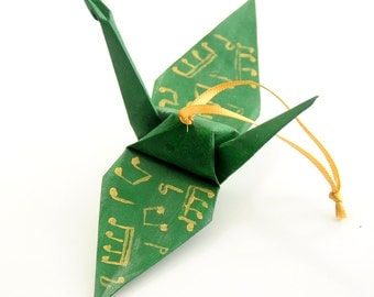 Gold Musical Notes on Forest Green Origami Crane Ornament, Handpainted