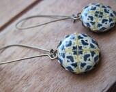 Azulejos tiles of Portugal, blue and white earrings, dangle earrings, drop earrings, majolica long earrings, Portuguese wedding, World style