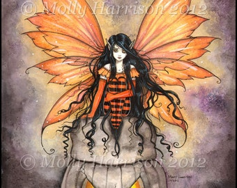Halloween Stone Fairy  Fine Art Print by Molly Harrison 9 x 12 Giclee