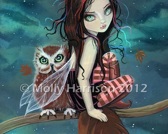 Cute Gothic Fairy and Owl Autumn Fine Art Giclee Print by Molly Harrison 8 x 10