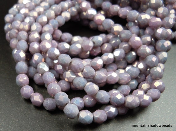 4mm Czech Firepolished Glass Beads - Opaque Amethyst Luster (G - 39)