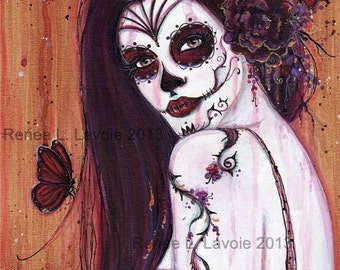 2.5 x 3.5 inches DAY OF THE Dead aceo  print Ranita  By Renee