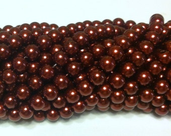 Glass Pearl Beads - 42 pc - Cinnamon Glass Pearl Beads - 8mm - Round - Dyed