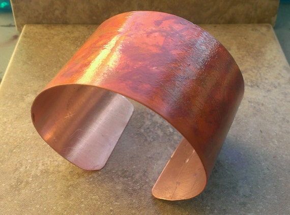 Playing with Fire Orange Patina Copper Cuff Bangle Bracelet