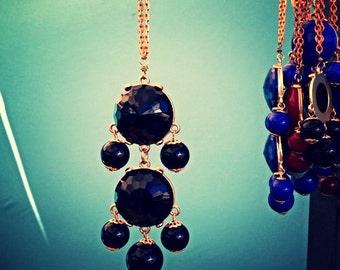 Black Chandelier Bubble Necklace - Double Chandelier Pendant Chain - Solid Brass Chain