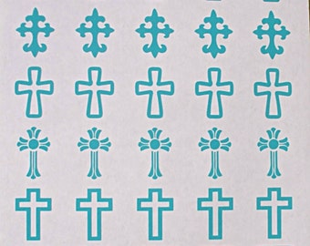 Dichroic Fused Glass Vinyl Etching Stencils, Christian Crosses Stencils, With PDF Tutorial for Etching Dichroic Glass