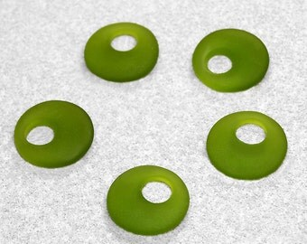 Olive Donut Recycled Sea Glass Earrings