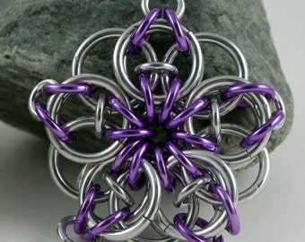 Chainmaille Key Chain - Unique Key Chain - Celtic Star Key Chain - Metal Key Chain - Purple Celtic Star - Purple Key Chain