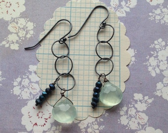 gifts for her stella earrings  sterling chalcedony