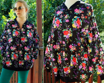 NEON Bouquet 1980's 90's Vintage Colorful Oversized Jacket with Hot Pink FLOWERS size Large XL by Society Hill