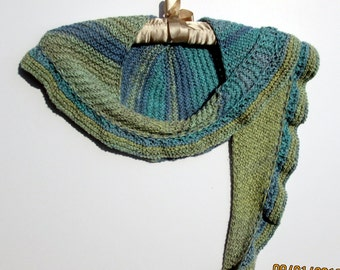 Hand knit cotton shawl, shawlette in blues and greens with a scalloped edging, spring summer shawl, kerchief scarf, lightweight wrap
