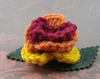 Crocheted Rose Hair Clip - Serenity (SWG-HC-SE01)