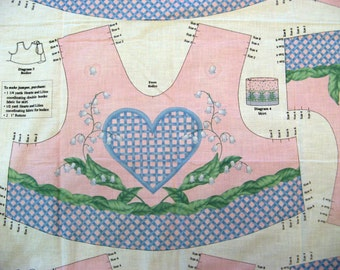 Hearts and Lilies Bodice Top Vest Jumper Panel Like Daisy Kingdom size 2 -8 Pink and Blue - Sewing Panel - Jelly Bean Junction MMFab - OOP