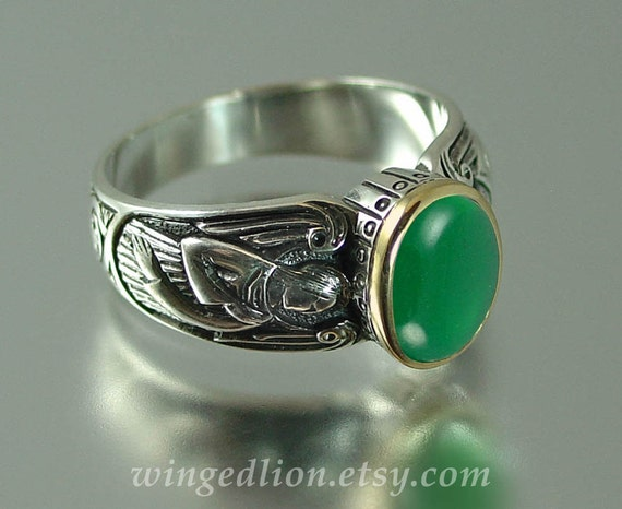 Guardian Angels silver 14K ring with Green Agate