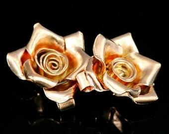 KZ-242 thai karen hill tribe handmade silver 1 rose gold vermeil medium wild rose charm