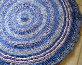 "ON SALE 42"" Round Country Blue Striped Crocheted Rag Rug Floor Art Purple Medium Large"
