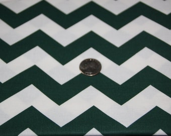 """7/8"""" wide CHEVRON - Marshall Dry Goods Fabric - One Yard - Forest Green and White"""