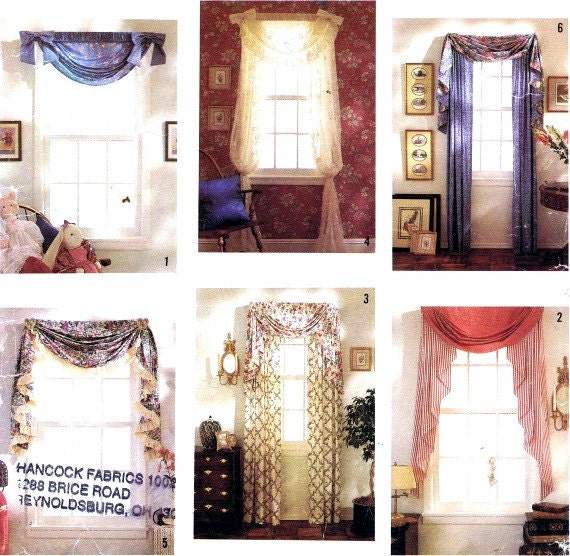 Items Similar To Curtains Festoon Jabot Panels Swag Window