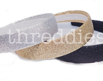 glitter headbands / alice bands / one of each color - gold, silver, black