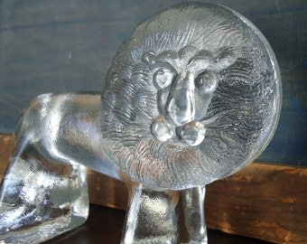 Mid Century Modern 1970s Kosta Boda Glass Lion Zoo Series Paperweight FREE SHIPPING