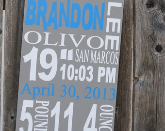 Personalized Birth Announcement Sign - Baby Stat Sign - Baby Gift Sign