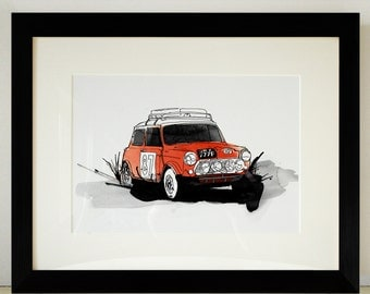 Mini Cooper Rally Car Illustration