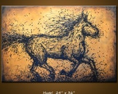 "Amy Giacomelli Painting Original Large Abstract Textured Horse .... 24 x 36 ... ""Momentum"", plz c close ups"