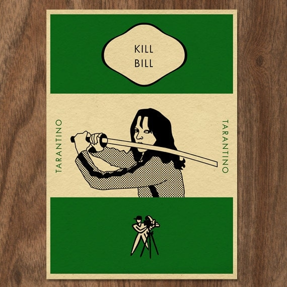Vintage Penguin Book Cover Postcards : Kill bill penguin book cover inspired print