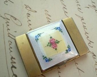 1930s Shabby Chic La Mode Compact Guilloche Enamel Powder Rouge Lipstick Mirror
