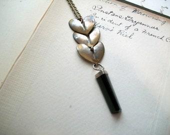 Vintage Assemblage Black Onyx Necklace Minimalist