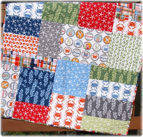Sale Baby Boy Quilt Going Coastal Modern Big Block