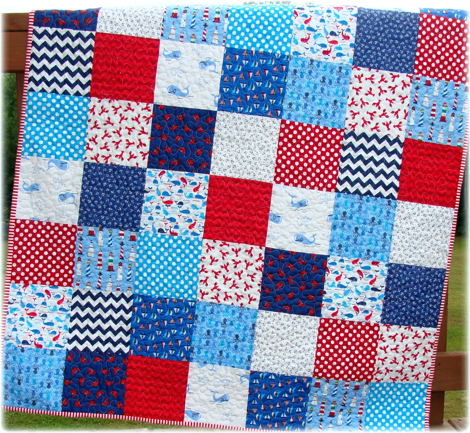 Patchwork Quilt For A Boy: Baby Boy Quilt Nautical Patchwork Whales By CarleneWestberg