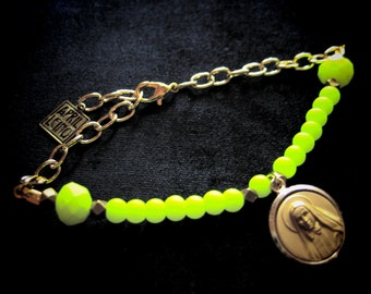 NEON YELLOW ROSARY bracelet rubberized neon glass bead and 18k gold chain with virgin mary charm