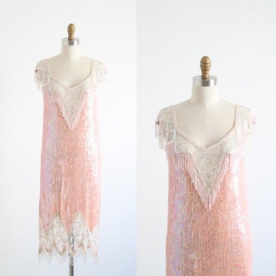 gatsby kleid flapper 20er jahre art deco pink pailletten. Black Bedroom Furniture Sets. Home Design Ideas
