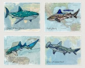 Sharks! Set of Four Super Cool Trendy Wall Prints. Perfect decoration for ocean/sea/pirate themed bedroom
