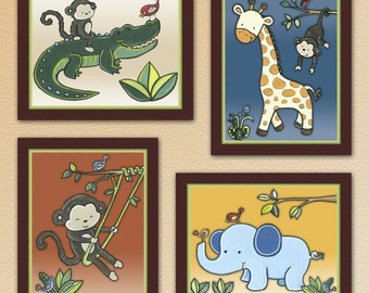 Set of Four Jungle Safari Nursery Art Prints. Made to Match Jungle 123