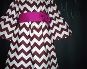 Peasant Mini DRESS - Riley Blake - Chocolate Brown Chevron - Pick the size Newborn up to 14 Years by Boutique Mia