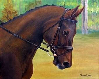 "Custom Pet Painting Horse Art Dog Art Cat Art Any Custom Animal Painting 5"" x 7"" Pet Portrait Artist Sharon Lamb"