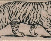 circus carnival Tiger Walking stamp  wood Mounted   rubber stamp    stamp number 14164 under big top
