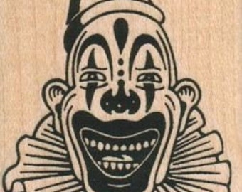 Rubber stamp  clown face scary   wood Mounted   7253  carnival freaks craft stamping halloween