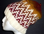 Fall Colors Knit Hat with Chevron Stripes Warm and Cozy for Winter