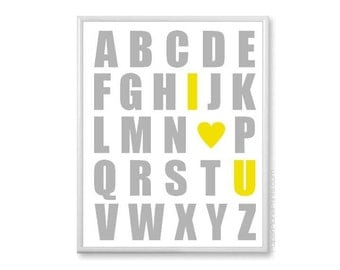 Alphabet Wall Art, Baby Poster, Yellow Gray 11x14 Kids Wall Art, Playroom Art, Alphabet I Love You, ABC Nursery Wall Decor, Alphabet Print