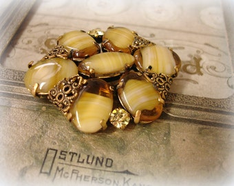 vintage givre brooch . shades of honey . honey givre glass ovals and navette accented with antiqued brass filigree and rhinestones