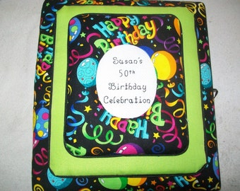 HAPPY BIRTHDAY Personalized custom Fabric Photo Album / Scrapbook
